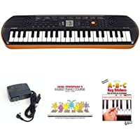 Casio SA76 44 Keys 100 Tones Keyboard bundle with Casio Power Supply, John Thompson's Easiest Piano Course and ABC…