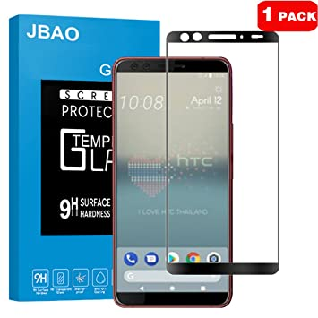 JBAO HTC U12+ (Plus) Protector de Pantalla, Pantalla Completa Protector Cristal Vidrio Templado
