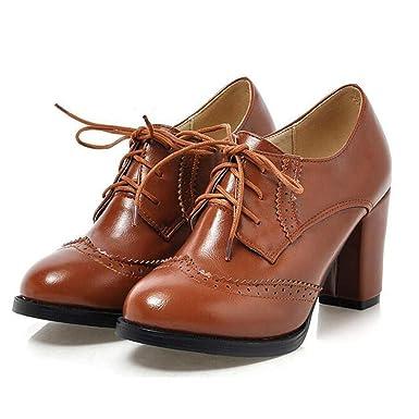 33fd0772c2 Image Unavailable. Image not available for. Color: Vintage Lace Up Women  Pumps Cut Out Oxford Shoes ...