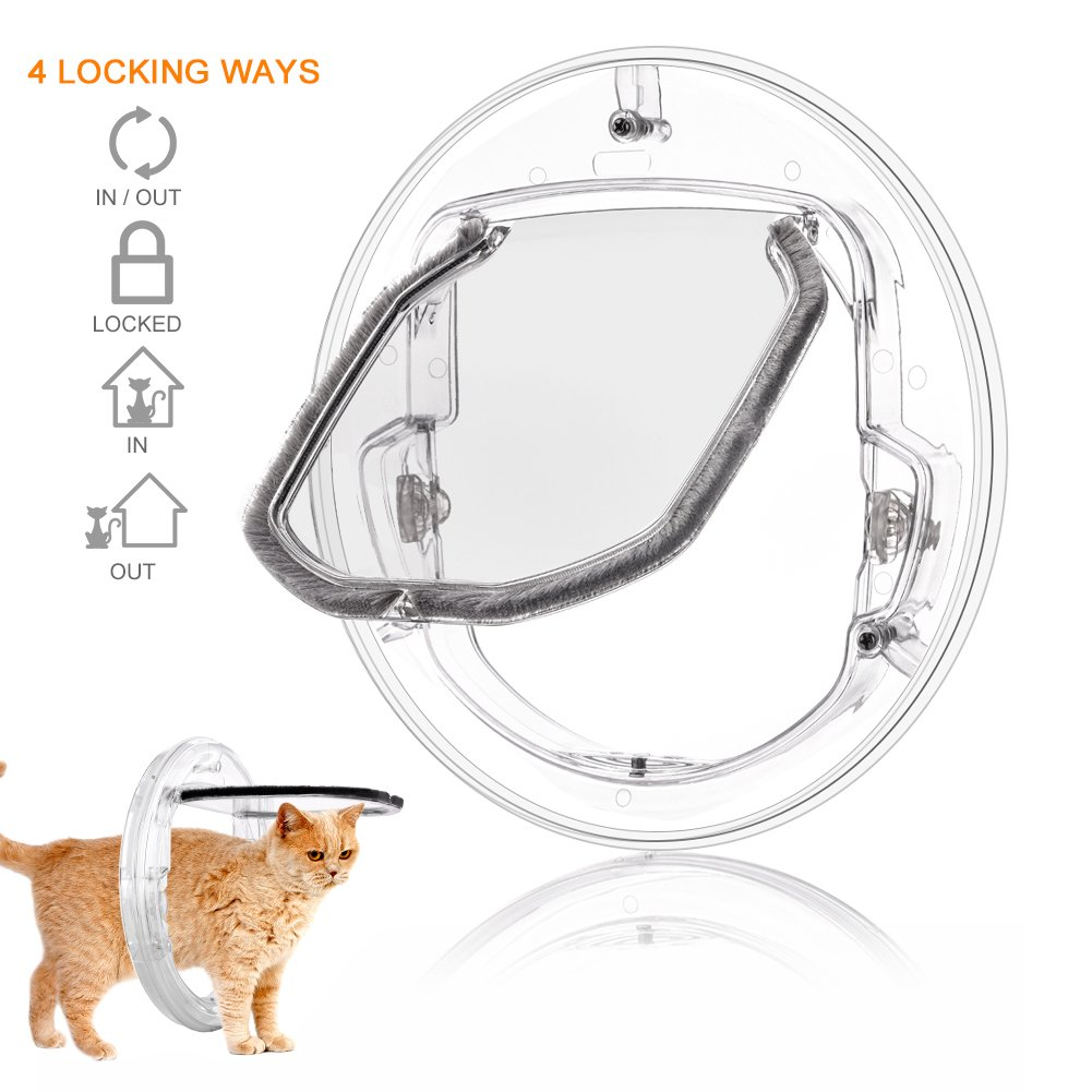 YOUTHINK Pet Door for Cats and Small Dogs with 4 Ways Lock, Round Clear Cat Flap Door with Liner Kit Best Fits for Screen Window, Sliding Glass Door, Glass Window, Weather-Resistant & Low Maintenance