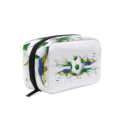 Bolsa de maquillaje, diseño de balón de fútbol: Amazon.es: Belleza