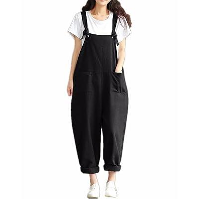 StyleDome Mujer Chicas Peto Largo Casual Elegante Algodón Suelto Moda Bolsillos Tiras Fiesta Negro EU 46: Ropa y accesorios