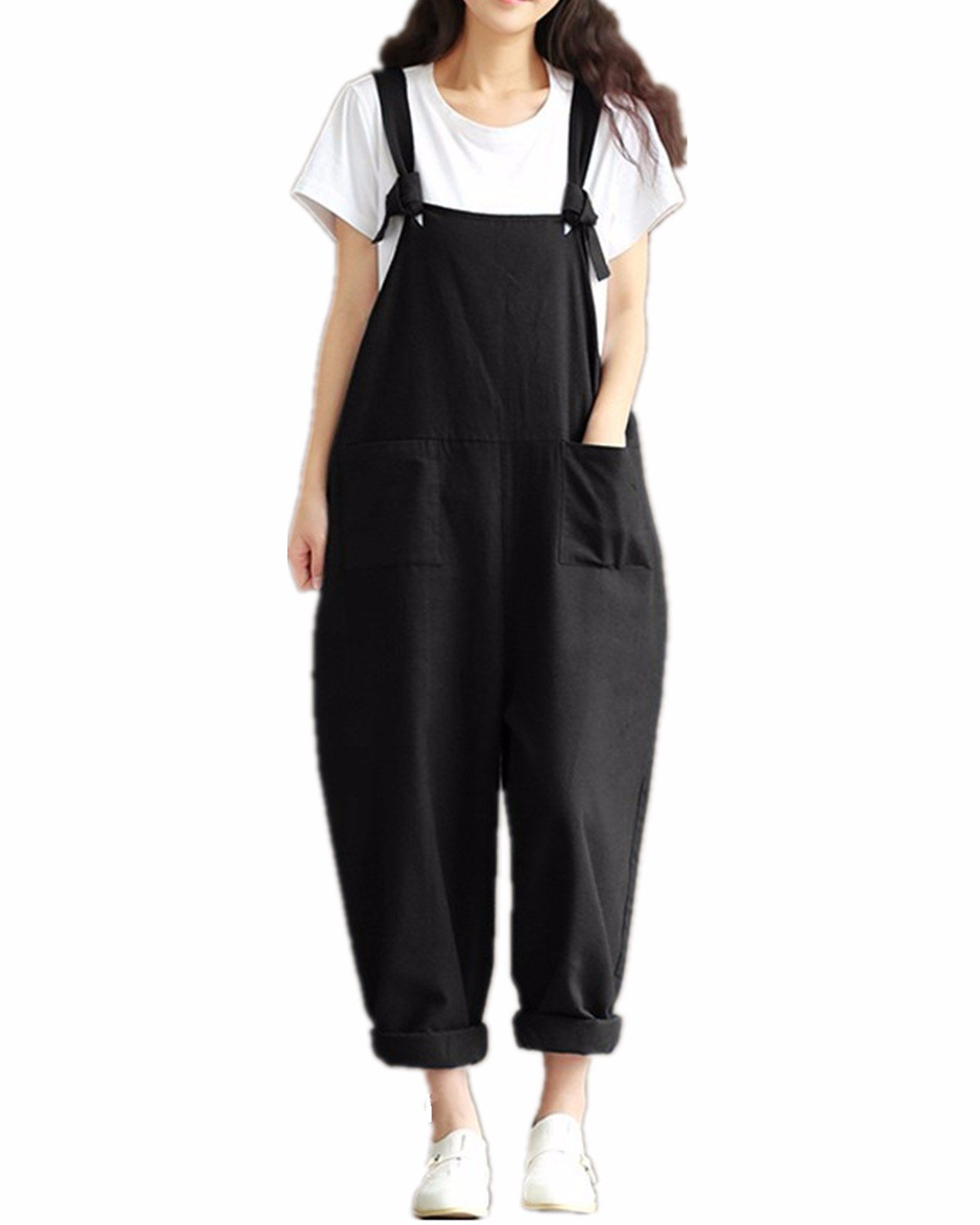StyleDome Women's Strap Overall Pockets Long Playsuit Pants Jumpsuit Trousers (US 10, Black)