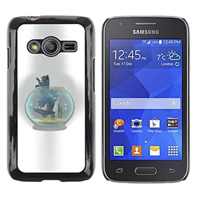 Carcasa de plástico funda | | Samsung Galaxy Ace 4 | | Gato pecera bol gris