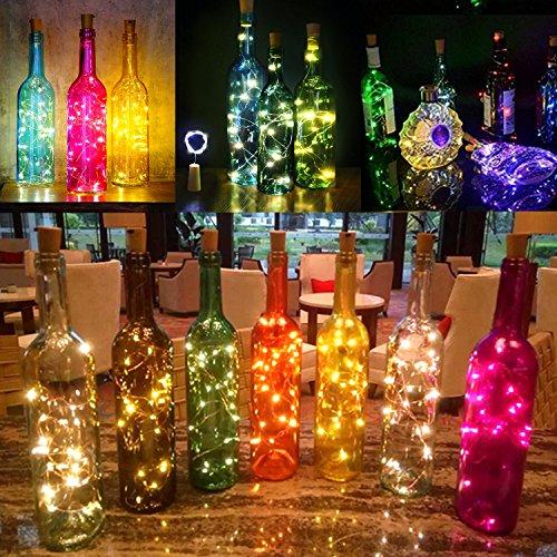 6 Piezas Guirnaldas Luces Impermeable Tapa KINGTOP Botella Luz de Corcho 20 LEDs 2m Cobre Alambre Humor Iluminación con Destornillador para Botella DIY ...
