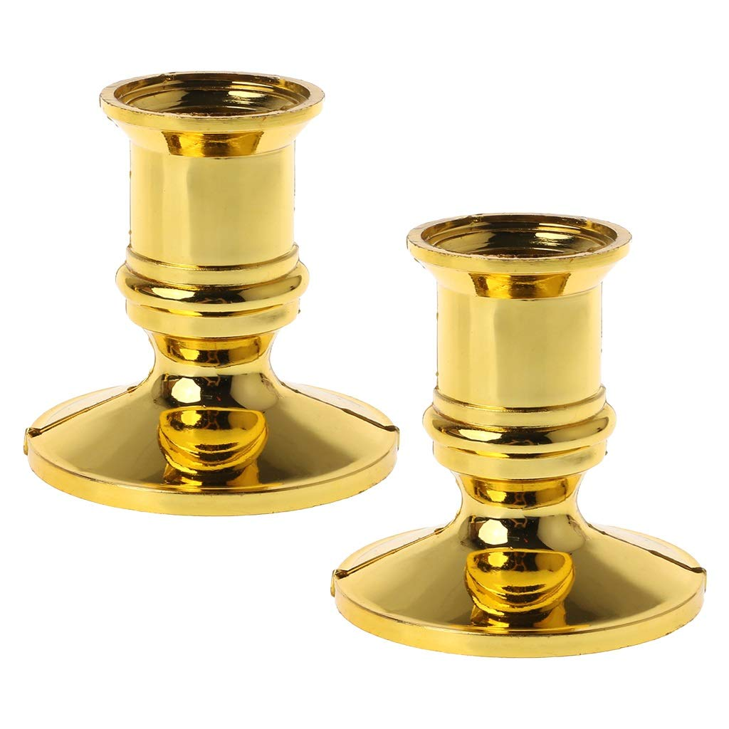 STEBCECE Candle Holder, 2pcs Gold Plated Candle Holder Pillar Candlestick Stand for Electronic Candles Tapers Party Decor