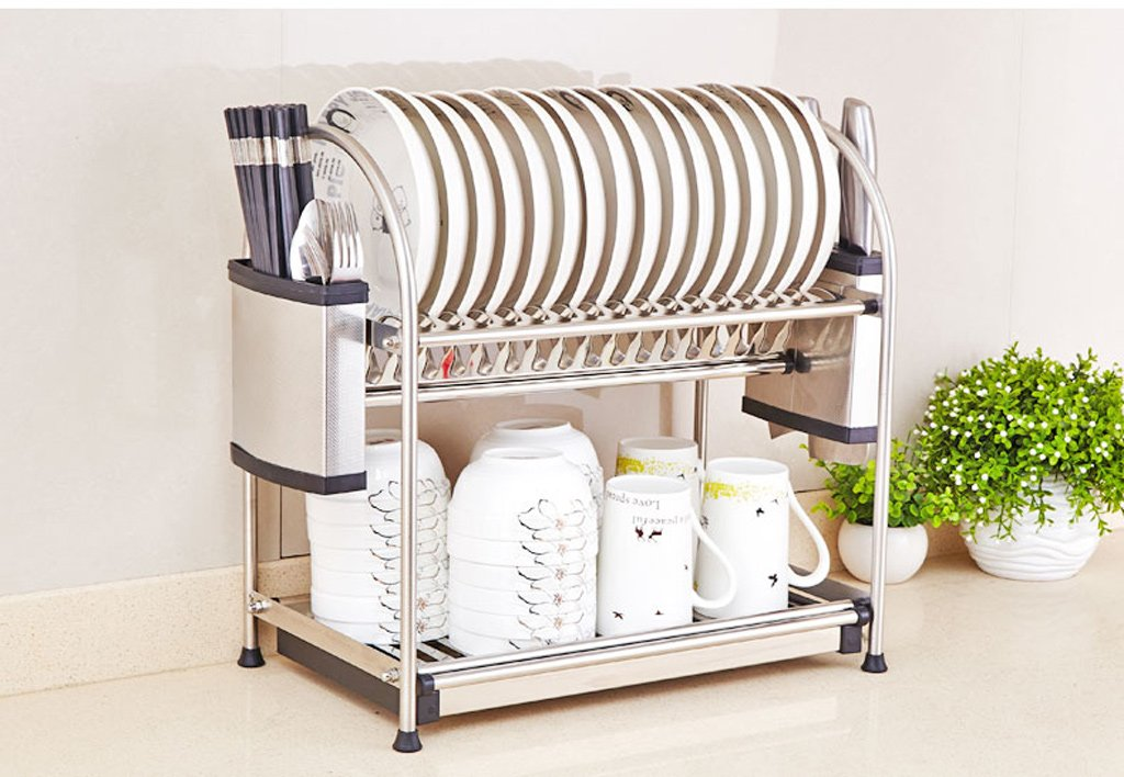 Hyun times Stainless Steel Bowl Rack Kitchen Racks Storage Household Items Put Dishes Rack Dish Water Bowl Shelf Double