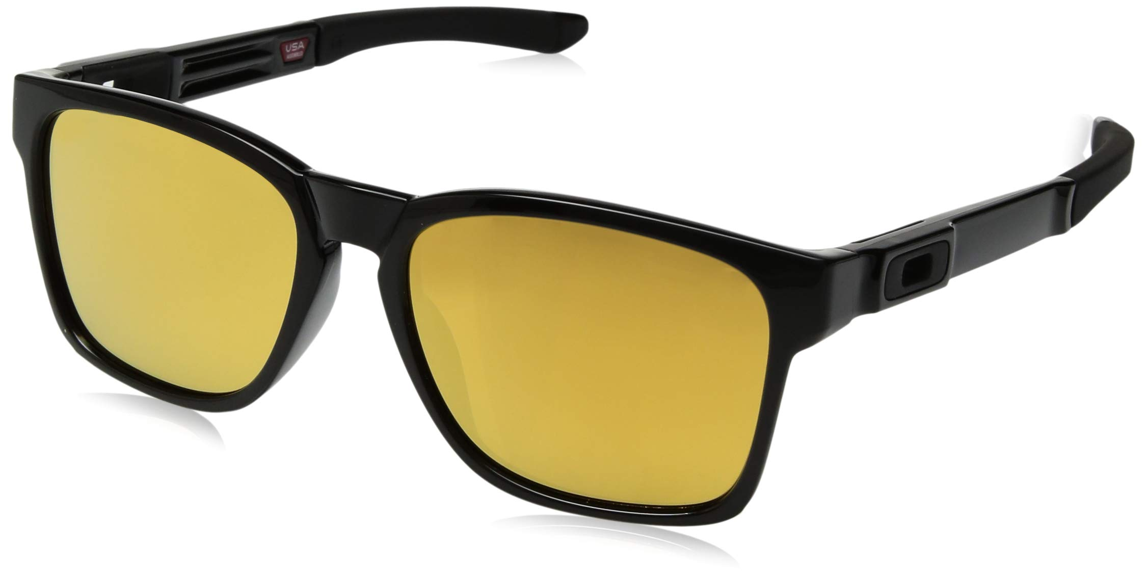 Oakley Men's OO9272 Catalyst Rectangular Sunglasses, Polished Black/24K, 56 mm by Oakley