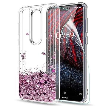 LeYi Funda Nokia 6.1 Plus Silicona Purpurina Carcasa con HD Protectores de Pantalla,Transparente Cristal Bumper Telefono Gel TPU Fundas Case Cover ...