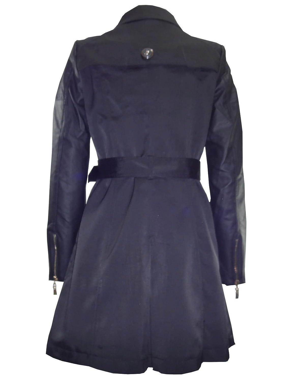 d62487b102f1 Nouveau Mode pour femme simili cuir noir manches double boutonnage Trench  Coat Veste - Noir -  Amazon.fr  Vêtements et accessoires