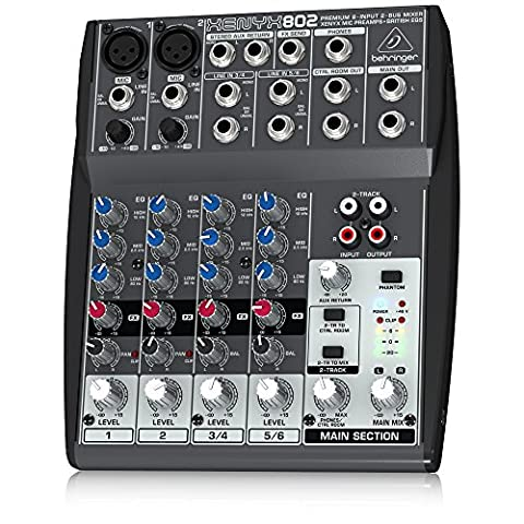 Behringer Xenyx 802 Premium 8-Input 2-Bus Mixer with Xenyx Mic Preamps and British EQs (Sound Boards)