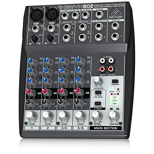 Behringer Xenyx 802 Premium 8-Input 2-Bus Mixer with Xenyx Mic Preamps and British EQs (Stereo Mixer Microphone)