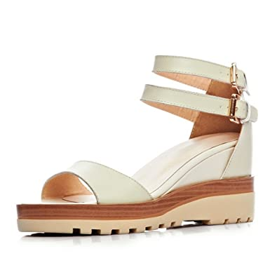 80c140bc9 1TO9 Girls Double Breasted Ankle Cuff Color Matching Thick Bottom Heel  Beige Cow Leather Sandals -