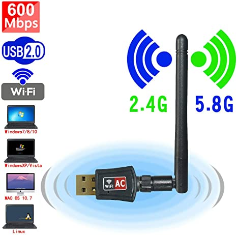 Wifi Adapter ac600Mbps Wireless Usb Adapter 5.8GHz//2.4GHz Dual Band