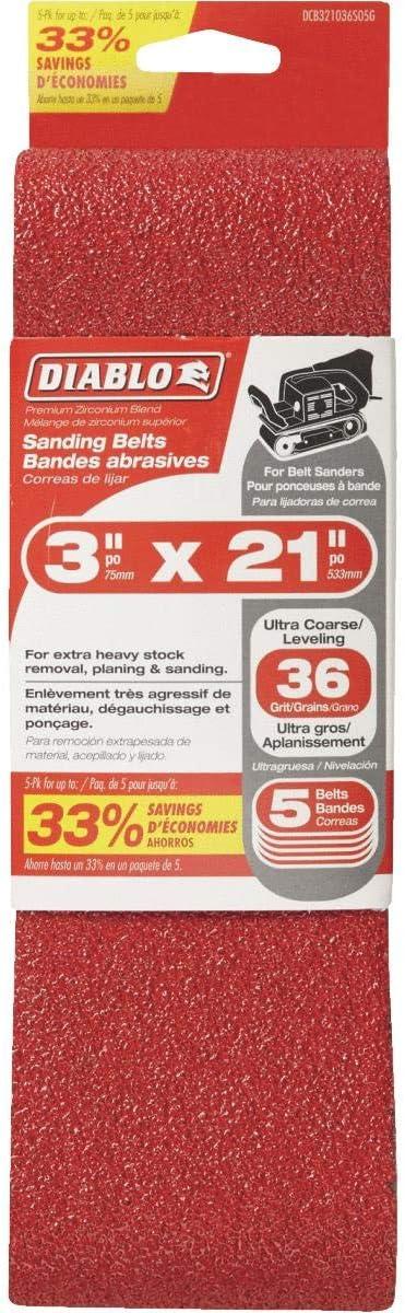 """Diablo DCB321050S05G 5pk 3/""""x21/"""" Sanding Belt 50 Grit 4x New"""