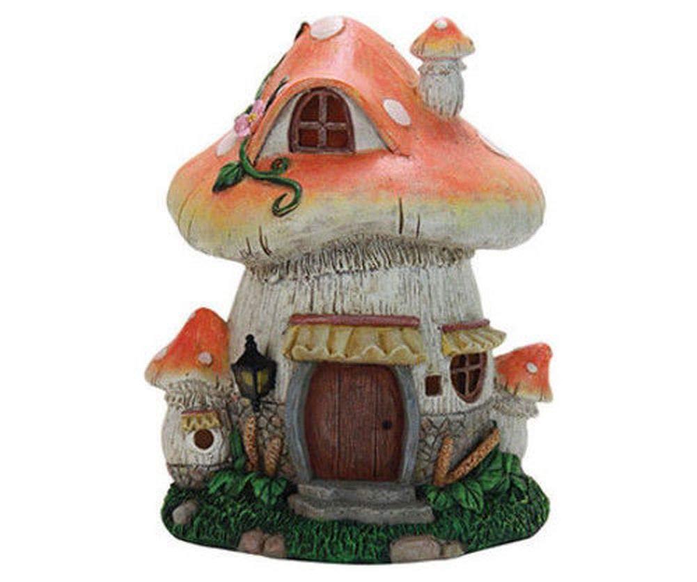 Fairy Garden Mini - Solar Orange Roof Mushroom House