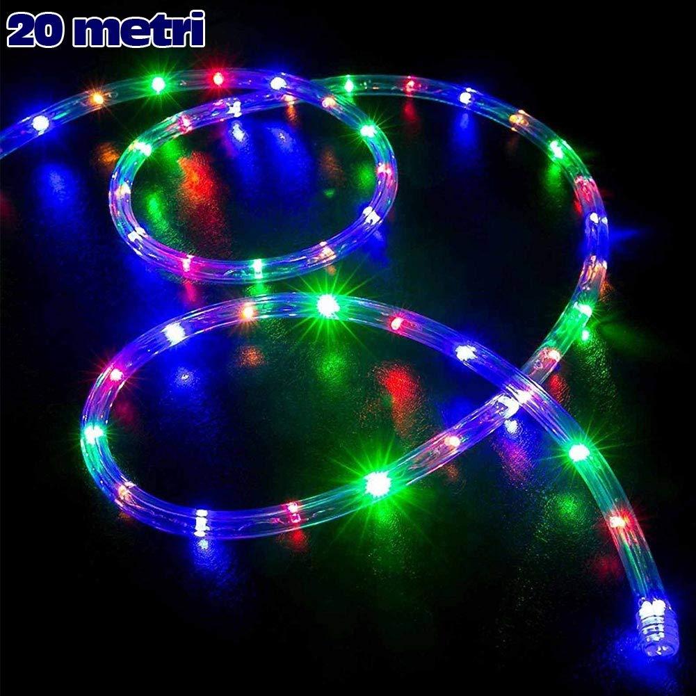 Tubo a led luminoso per Natale luci natalizie per Esterno e Interno impermeabile 20 metri 480 led luce MULTICOLOR con controller
