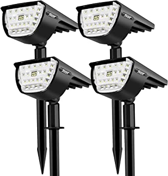Jior Solar Landscape Spot Lights Outdoor 32 Led Ip65 Waterproof Wireless Lights For Garden 4 Pack Cold White Amazon Com
