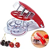 Locisne Revolutionary Cherry Pitter Olive Tool - 6 Cherries Red Remover with Pit and Juice Container
