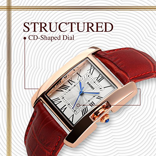 Womens Analog Quartz Watches Casual Wrist Watch Unique Square Dial Roman Numeral Dress Watch Leather Strap Fashion Crystal Diamonds Ladies Cheap Watches on Sale Birthday Gift 30M Waterproof-Red