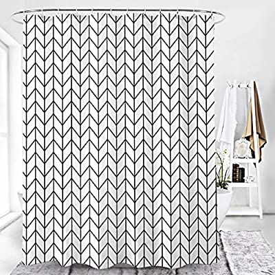 "AmazerBath Fabric Shower Curtain, Black Herringbone Pattern Polyester Fabric Shower Curtains with 2 Heavy Duty Clear Stones, Decorative Curtains for Bathroom, Hotel Quality, 72 X 72 Inches - PREMIUM QUALITY - Made of 100% polyester fabric. Feels soft and comfortable. Water repellent and odorless. The 120 GSM (gram per square meter) shower curtain is 100g heavier than the same size 91 Gsm shower curtains of other brands. 2 HEAVY DUTY CLEAR STONES: Heavy duty clear stones on bottom corners make the item get more weight to reduce curtain blowing. REINFORCED METAL HOLES - 12 rust-resistant metal grommets fit most curtain hooks. The 72""x72"" curtain fits most standard-sized bathtubs and showers. - shower-curtains, bathroom-linens, bathroom - 61W%2B61D6FqL. SS400  -"