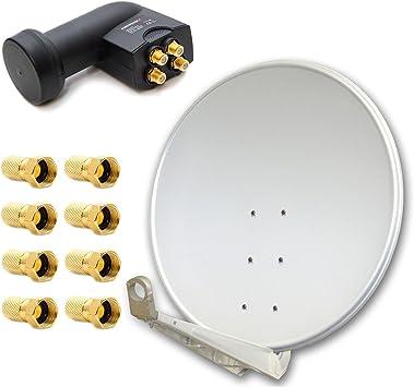 PremiumX deluxe100 cm gris claro Antena de satélite Espejo ...
