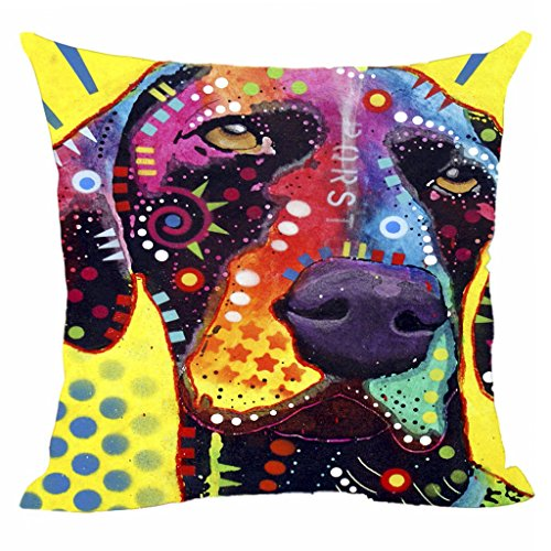 CafeTime Colorful Art Dog Cushion Cover German Short Hair Pointer Pillow Covers Square Canvas Pillowcase For Home Sofa Couch Chair Seat Office 18