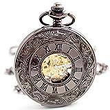 Retro Wind-up Mechanical Pocket Watches - BoShiYa Craftsmanship Steampunk Mechanisms Timekeeper FOB Watch with Belt Clip Chain Black