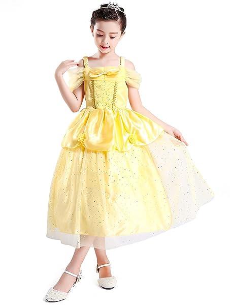 AmzBarley Disfraz Frozen de Bella Niñas 82d74d4a1fb0