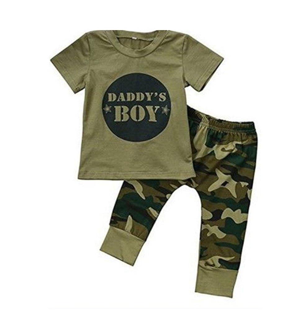 Huateng Tuta Mimetica neonata Bimba Bambina con Spalle Arricciate + Pantaloni con Risvolto Denim Pant + Set di Vestiti per Neonato Fascia