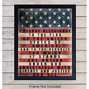 Patriotic American Flag Pledge of Allegiance Wall Art Print - Vintage Farmhouse Retro Home Decor - Great Gift for Military Veterans and 4th of July - Unframed 8x10 Photo