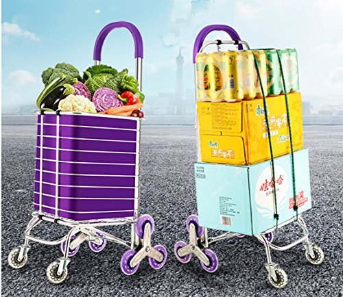 XUEXIN Shopping cart aluminum alloy to buy vegetables to climb the floor can be folded portable pull lever pull cart , b (Portable Pull Floor)