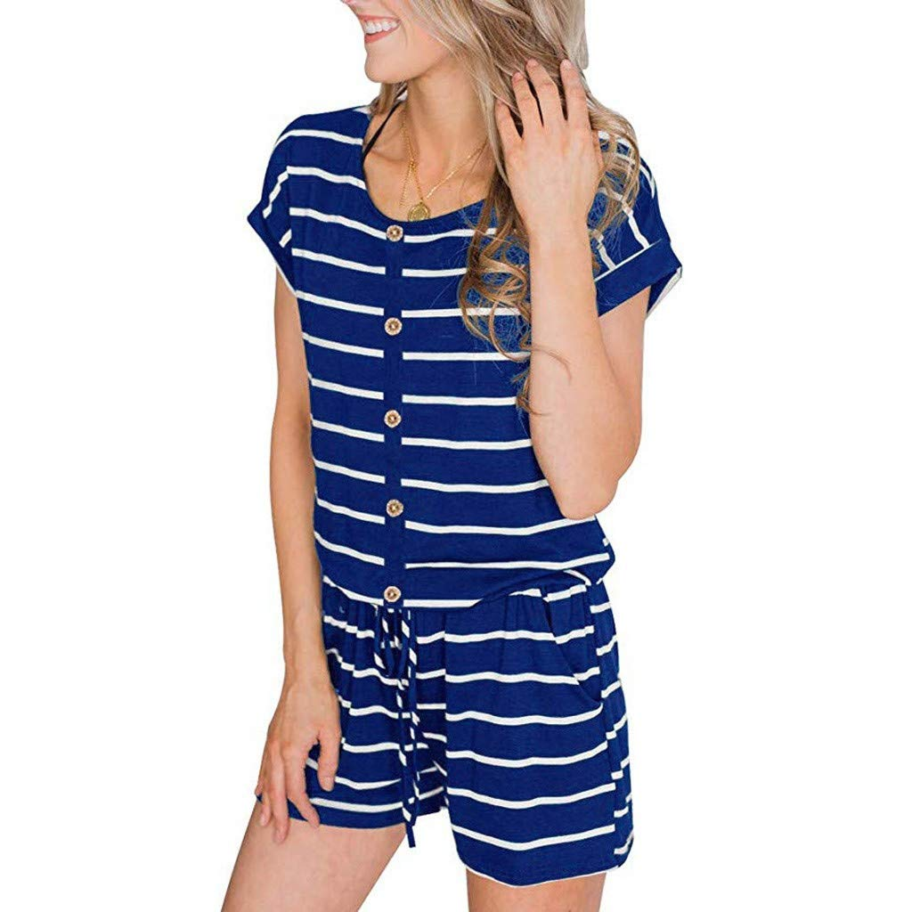 Hunauoo Sale Women Rompers Casual Striped Loose Jumpsuit Short Sleeve Front Button Playsuit with Pockets