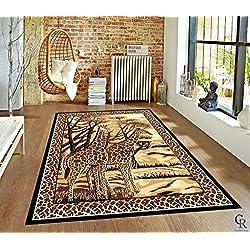 "Contemporary Safari Giraffe African Modern Carpet Area Rug (5' 3"" X 7' 5"")"