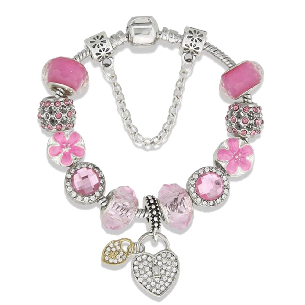 Double Heart Lock Clover Pink Charm Bracelet for Girls and Women with Safe Chain Birthday Gift