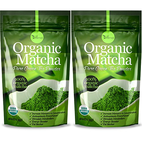 2 Pack Organic Matcha Green Tea Powder - 100% Pure Matcha (No Sugar Added - Unsweetened Pure Green Tea - No Coloring Added Like Others)