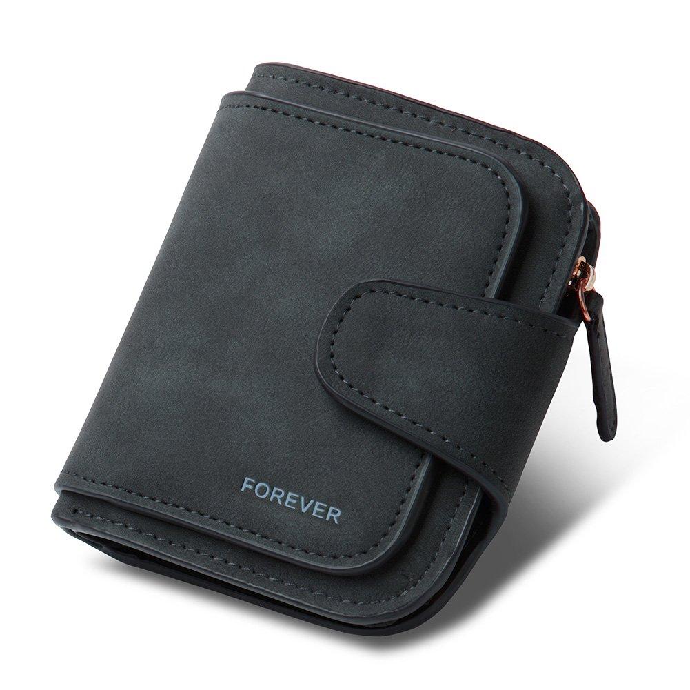 RFID Blocking Mattee Leather Wallet for Women Clutch Purse Bifold Long Designer Ladies Checkbook Multi Credit Card Holder Organizer with Coin Zipper Pocket wine red