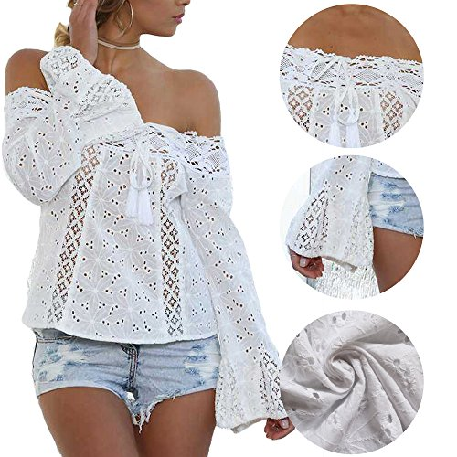 Blusas Mujer Sin Tirantes Mujer Encaje JWBBU® Camisas de Manga Larga Camisas Ganchillo Chiffon Camisa Blanco