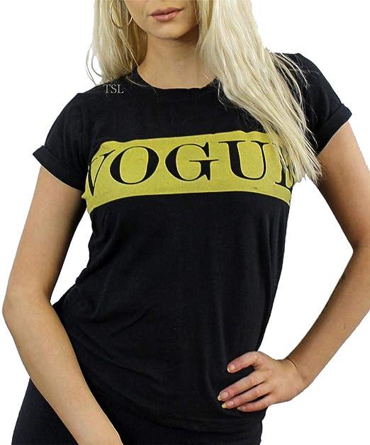 Islander Fashions para Mujer Vogue Impreso Cuello Redondo Camiseta de Las seoras de Lujo del Partido del Desgaste de Manga Corta Top S/XL: Amazon.es: Ropa y ...
