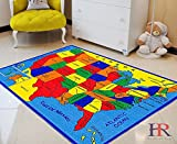 USA Map Kids Educational Play mat for School/Classroom / Kids Room/Daycare/ Nursery Non-Slip Gel Back Rug Carpet-(3 by 5 feet)