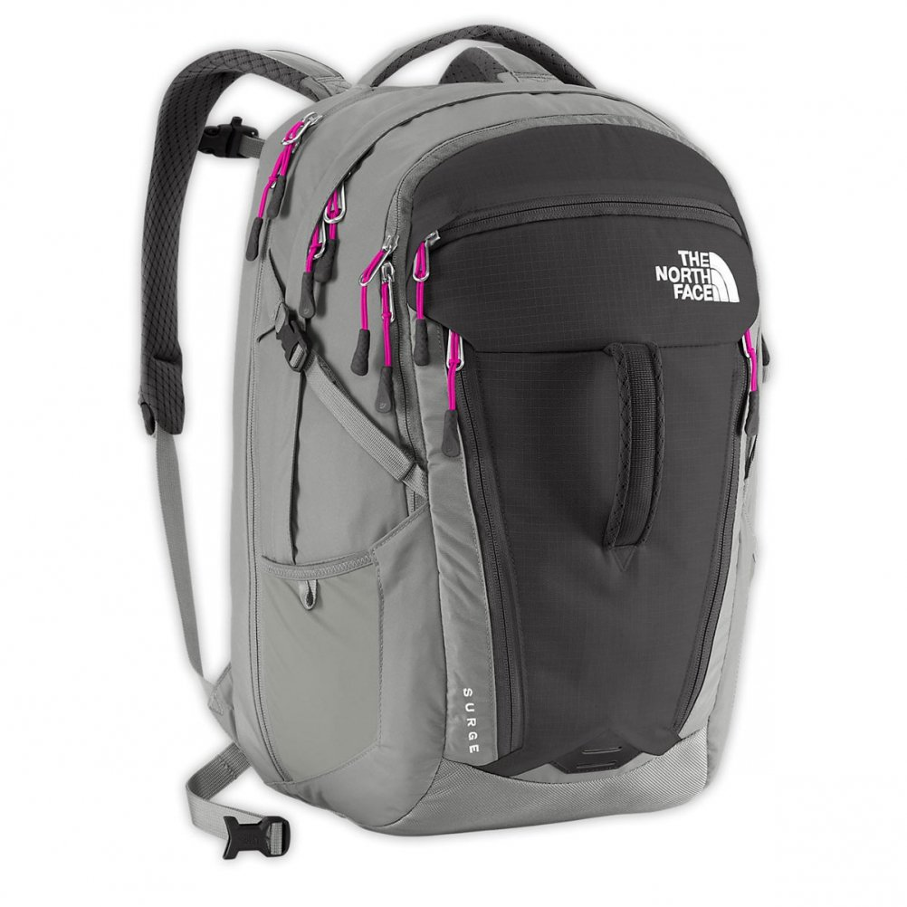The North Face Surge Backpack - Women's Asphalt Grey/Luminous Pink by The North Face
