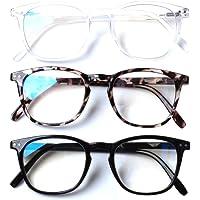 Henotin 3 Pack Blue Light Blocking Reading Glasses,Spring Hinge Computer Readers for Men Women,Anti UV Ray Filter…