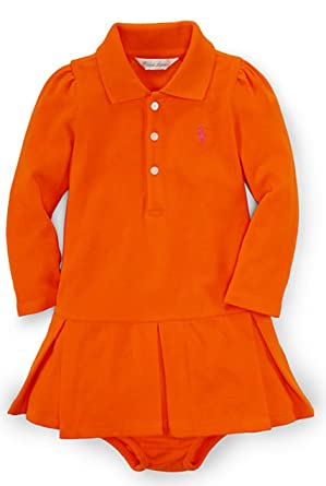3f603e3bc Ralph Lauren Baby Girls' Pleated Polo Dress & Bloomer (3 Months, Sailing  Orange
