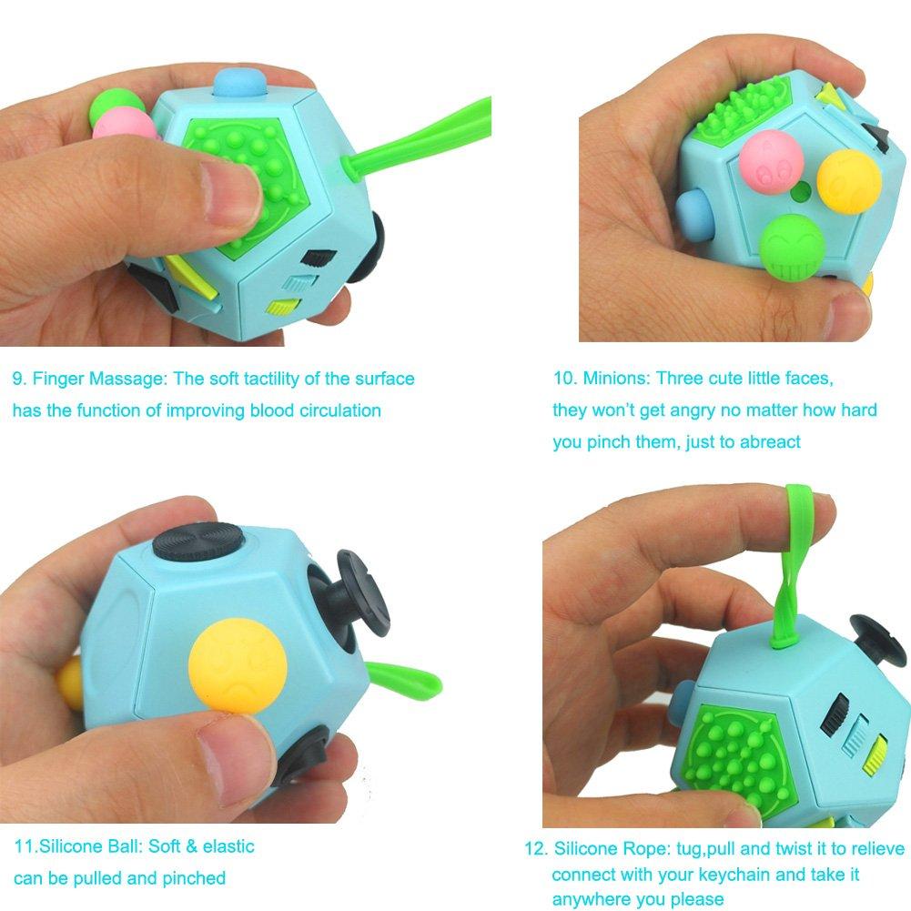 Fidget cubo II juguetes antiestr/és actualizados 12 lados gadgets dodecaedro ayudan a reducir el estr/és la ansiedad el nerviosismo o el tiempo de matar a los ni/ños adultos con TDAH Autismo Verde