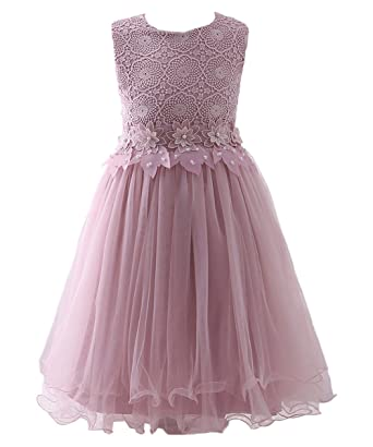 8b09841d31b3 AbaoSisters Flower Girl Dress Lace Crochet Bow Sash Party Wear 6-13 Year Old  2