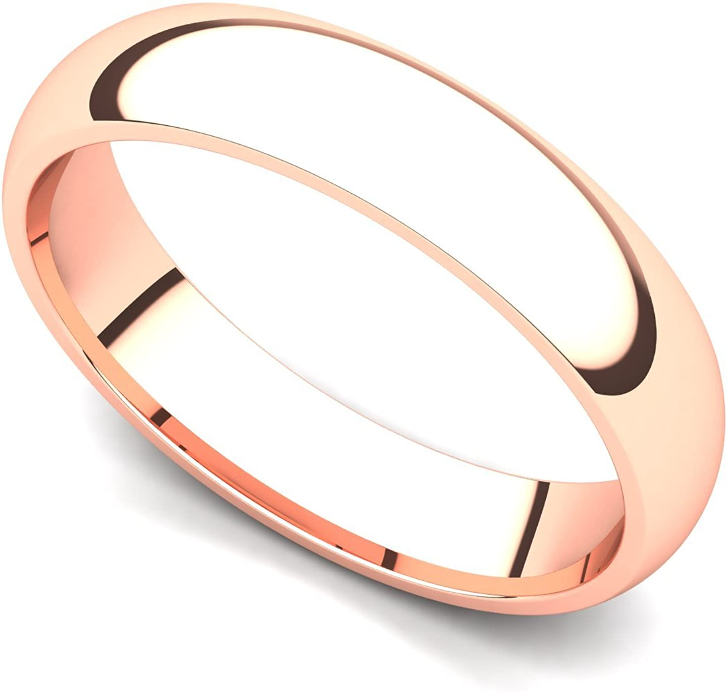 Juno Jewelry 18k Rose Gold 3mm Domed Plain Wedding Band Ring