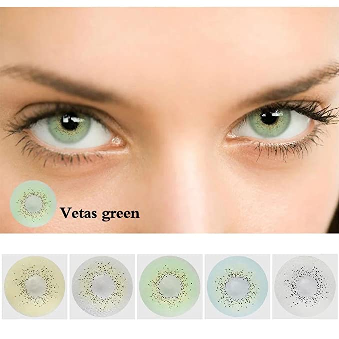 Ncient Una Pieza Lentilla 1 Año Lentes Colores de Suave Multicolo para Gran Diámetro Hermosos Ojos 0 Grados Cosplay Maquillaje,Pieza única
