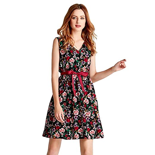 Hankyky Women s Sleeveless V-Neck Floral Printed Chiffon Lace-up A-Line Midi  Dress at Amazon Women s Clothing store  4c02fefcb