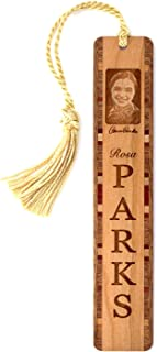 product image for Rosa Parks Portrait with Signature and Name - Engraved Wooden Bookmark with Tassel - Search B07R87FZ9Q for Personalized Version
