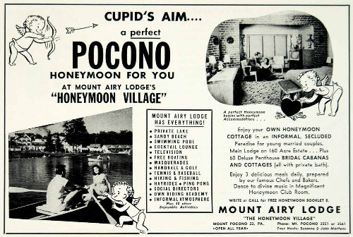 1956 Ad Mount Airy Lodge Pocono Honeymoon Cottage Cupid Newlyweds Honeymooners - Original Print Ad
